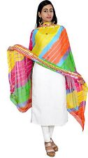 Women's tradional ethnic clothing apparel mirror work Dupatta Stole- Multicolour