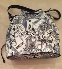 $850 Moschino Couture Jeremy Scott Gift Boxes All Over Print Leather Bucket Bag
