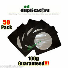 50 Black CD DVD Paper Sleeves 100g Premium Quality W/ Window & Flap
