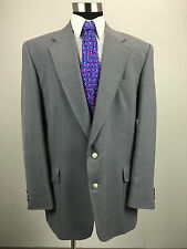 46L Stafford Mens Gray Metal Button Hopsack Blazer Sport Coat Jacket