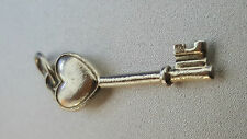 Authentic Tiffany & Co 925 Sterling Silver Heart Key Pendant Charm -USED-