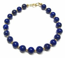 9ct Gold Bracelet with Genuine Lapis Lazuli Semi-precious Gemstone Beads 7.5inch
