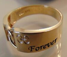 """14k Yellow gold man made diamond wedding ring, engagement with a """"Forever One"""""""