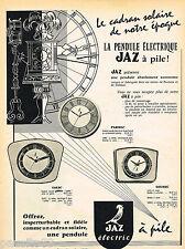 PUBLICITE ADVERTISING 055  1959  JAZ   pendule éléctrique  CADRAN SOLAIRE