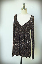 Bailey 44 Size Mjr.-M Draped Leopard Baby Doll Tunic Soft Pleat