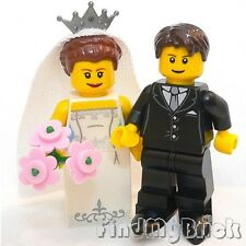 M634 Lego Wedding Bride & Groom Custom Minifigures with Marriage Gown Dress NEW