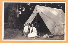 Real Photo Postcard RPPC - Man & Woman in Front of Tent w/ Watermelon Canteloupe