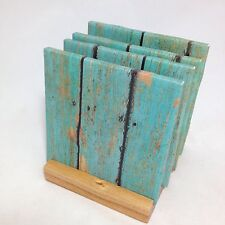 "HANDMADE ""Teal Wood"" Drink Coasters 