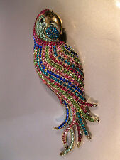 "UNBRANDED ""LARGE PARROT BROOCH/ENHANCER"" IT'S COVERED IN COLORFUL RHINESTONES!"