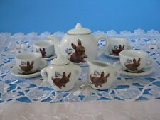Porcelain Children's 11 Piece Tea Set-Toy Playtime-Rabbit/Bird- Morehead Inc-New