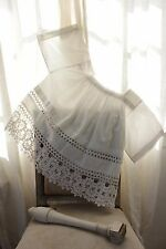 Vintage French lace woman's clothing blouse shirt white cotton work wear old