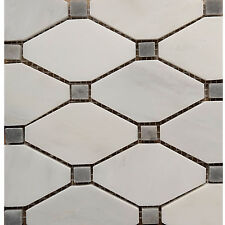 WHITE CARRARA HONED DIAMOND MOSAIC TILE Kitchen Backsplash Bathroom Wall Floor