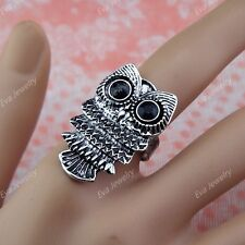 10pcs Wholesale Vintage Jewelry CZ Rhinestones Retro Antique Silver P Owl Rings