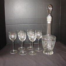 Stunning Toscany Etched Crystal Decanter with 6 Matching Long Stem Wine Glasses