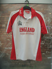 GREENE KING IPA ENGLAND MADE FOR RUGBY KOOGA WHITE & RED RUGBY SHIRT SIZE MED