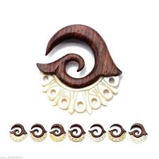 PAIR-Tapers Hangers Wood Arang w/Mother of Pearl 04mm/6 Gauge Body Jewelry