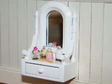 White Dressing Table Set, Dolls House Miniatures, 1.12 Scale BedroomFurniture