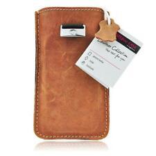 Edle Echtleder Tasche für iPhone 5 5S Leder Ledertasche Slim Case - Braun Brown