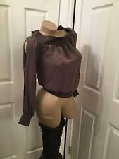 Bebe olive green slitted sleeve top extra small xs