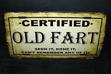 CERTIFIED OLD FART METAL NOVELTY LICENSE PLATE TAG FOR CARS