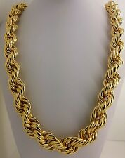 "Heavy 16mm 14K Gold Plated Hollow Thick Rope 36"" Necklace Hip Hop Dookie Chain"