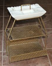 VINTAGE MID-CENTURY ATOMIC GOLD METAL MAGAZINE RACK STAND with CERAMIC ASHTRAY