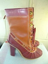 MICHAEL KORS Red Buffalo Brown Rubber / Leather Mid-Calf Duck Boots Size 9M