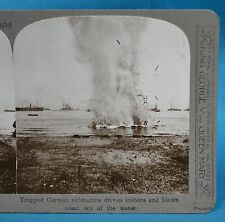 WW1 Stereoview Trapped German Submarine Blown Out Of Water Realistic Travels