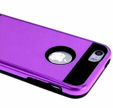 For iPhone 5 5S SE - Shockproof Hybrid Hard Rubber Brushed Metal Slim Case Cover