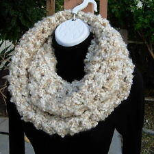 INFINITY SCARF Loop Cowl, Off White Beige Cream, Large Wide Winter Soft Crochet