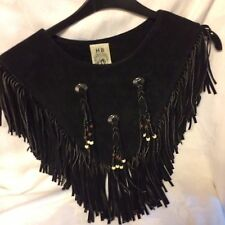 Western Style Real Suede Poncho by HB  USA beads and fringed not lined one size