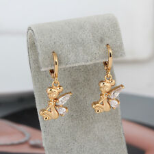 Little Girl Angle 9K Yellow Gold Plated Clear CZ Wings Hoop Dangle Earring Gift