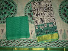 Traditional Madhubani Motifs Pure Cotton Black with Green Salwar Dress Material