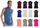 WOMENS SLEEVELESS TURTLE NECK TOP LADIES ROLL NECK POLO NECK JUMPER 8-26