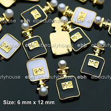 10 PCS 3D Nail Art Black/White Perfume with Pearl Gold Alloy Decoration #EJ-236