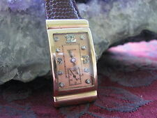 Hamilton Vintage 14K Rose Gold Deco Wrist Watch, Diamond Dial, Hooded Lugs