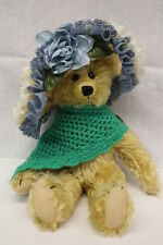 "CRAFT T-BEARS Blonde Jointed Teddy Bear W/Shawl & Hat, Ireland, 13"" Tall"
