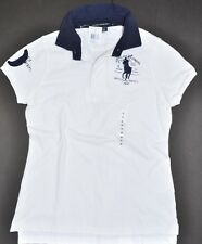 NEW RAPH LAUREN WOMEN POLO BIG PONY EQUESTRIAN SCHOOL NAVY SHIRT TOP JEANS M