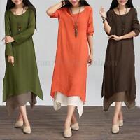 UK 8-26 Boho Hippie Women Cotton Linen Casual Loose Long Maxi Shirt Dress Kaftan
