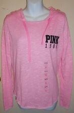 """Victoria's Secret """"Pink 1986"""" Long Sleeve Knit Pullover Hoodie Pink XS NWT"""