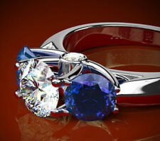 White and Blue Sapphire  Diamond Engagement Ring 14k STYLE # R1480 FREE SHIPP.