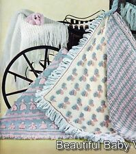 1950s KNITTING CROCHET PATTERNS 3 Ply Baby Shawl Cot Blanket Rugs Afghan COPY