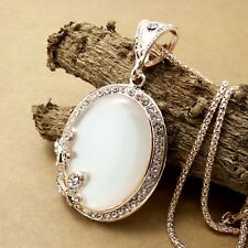 Fashion Gold-plating Elliptic opal pendant Crystal Necklace Sweater chain JJ172