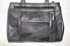 "NWT WARDS Black Leather Shoulder Bag,""Ships N' Shore Accessories"" Patchwork Look"
