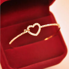 Charm Cuff Gold Plated Charm Love Heart Crystal Bangle Fashion Bracelet for girl