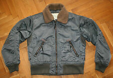 Alpha Industries Flight Jacket Quilted Lined Fur Collar Bomber Shiny Mens Size M
