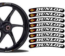 8 Dunlop Rim Stickers Wheel Stripes Set Car Motorbike Motorcycle Racing R54