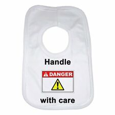 Handle With Care New Funny Personalised Baby Bib Cotton Great Gift Idea Unisex