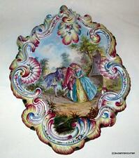 Antique French Majolica Faience Large HP Romantic Plaque Lille France Signed
