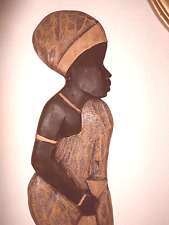 Wood carving African woman wall art